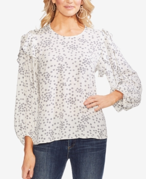 Vince Camuto Tops PRINTED TIED FLUTTER-SLEEVE BLOUSE