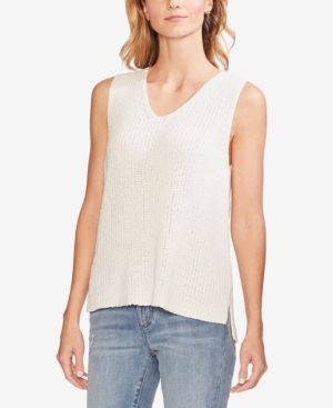 Vince Camuto Knits SPECKLED SHINY SLEEVELESS KNIT TOP