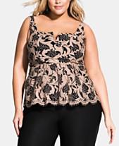 ce2a986a3fd12 City Chic Trendy Plus Size Harmony Lace Peplum Top