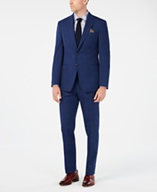 Tallia Orange Men's Slim-Fit Navy Windowpane Suit