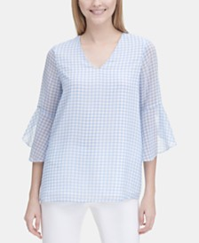 Calvin Klein Gingham V-Neck Ruffle-Sleeve Top