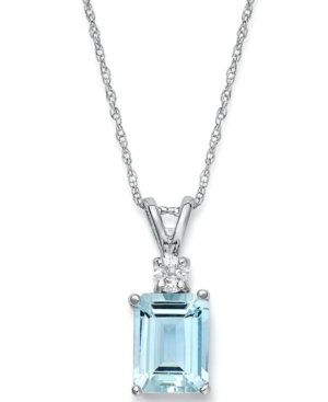 14k White Gold Necklace, Aquamarine (1-5/8 ct. t.w.) and Diamond Accent Pendant