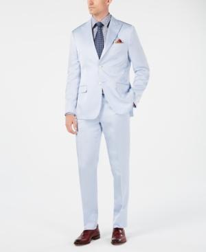 1960s -1970s Men's Clothing Tallia Orange Mens Slim-Fit Light Blue Sateen Suit $119.99 AT vintagedancer.com