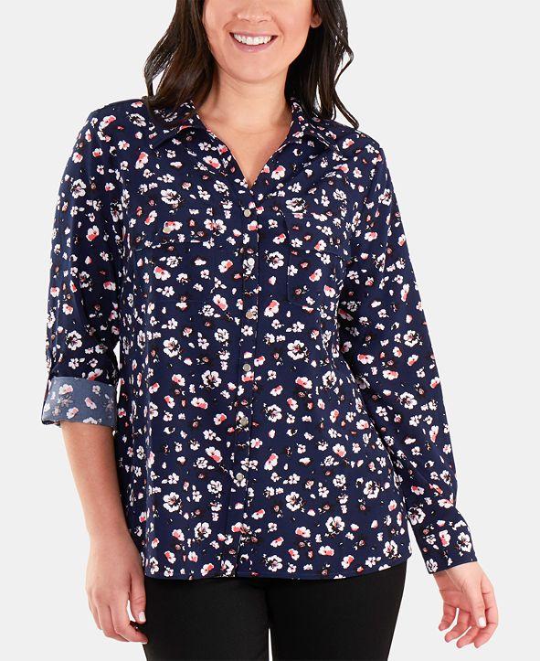 NY Collection Dot-Print Utility Shirt