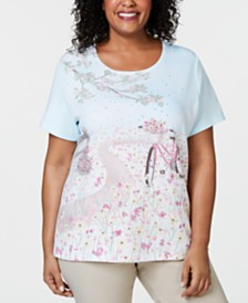 Karen Scott Plus Size Bicycle Print Embellished T-Shirt, Created for Macy's