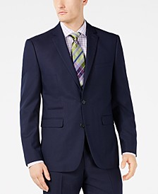 Men's Slim-Fit Stretch Navy Pindot Suit Jacket