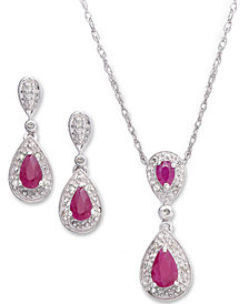 Ruby (1-3/8 ct. t.w.) and Diamond (1/10 ct. t.w.) Set in Sterling Silver Pendant and Earrings