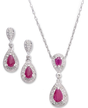 Sterling Silver Pendant and Earrings, Ruby (1-3/8 ct. t.w.) and Diamond (1/10 ct. t.w.) Set