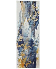 "Medley 5341A Ivory/Blue 2'6"" x 8' Runner Area Rug"