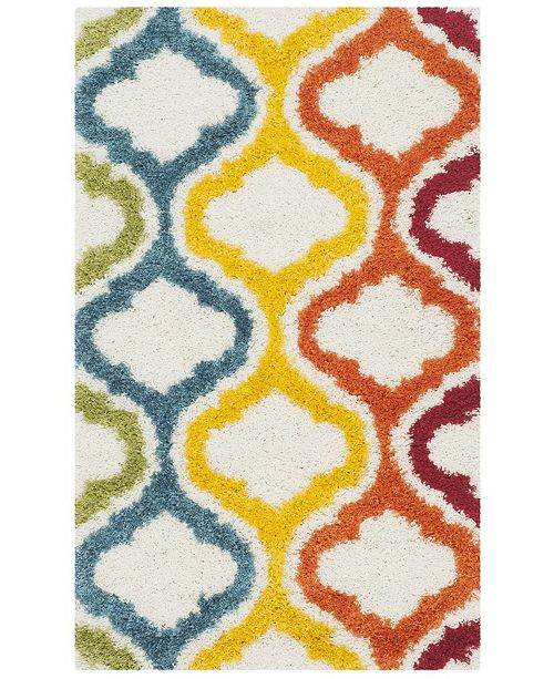 Safavieh Shag Kids Ivory and Multi 3' x 5' Area Rug