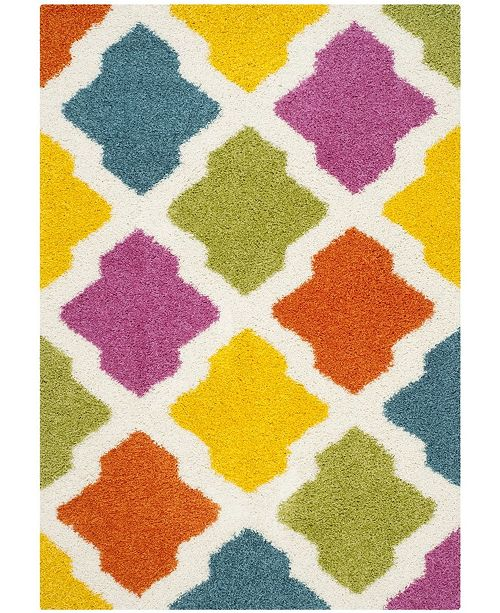 Safavieh Shag Kids Ivory and Multi 4' x 6' Area Rug