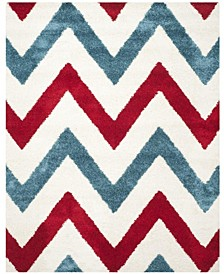 Shag Kids Ivory and Red 8' x 10' Area Rug