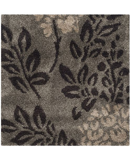 Shag Smoke And Dark Brown 4 X Square Area Rug
