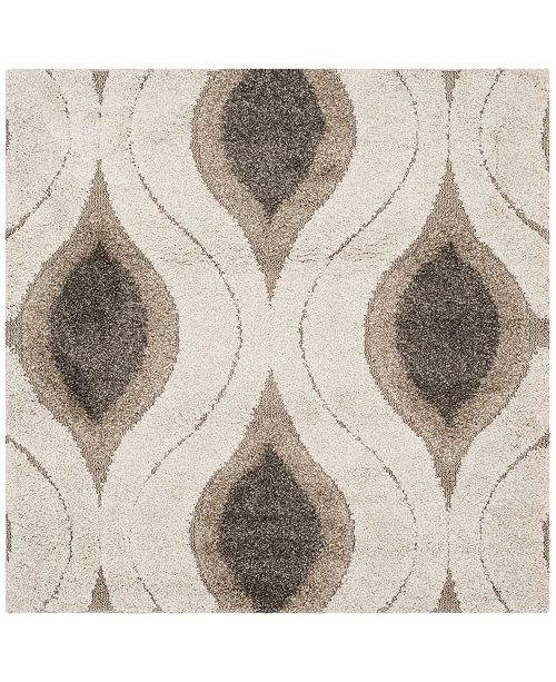 Safavieh Shag Cream and Smoke 4' x 4' Square Area Rug