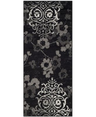 "Adirondack Black and Silver 2'6"" x 8' Runner Area Rug"