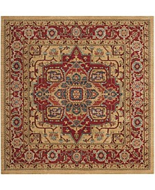 """Mahal Red and Natural 6'7"""" x 6'7"""" Square Area Rug"""
