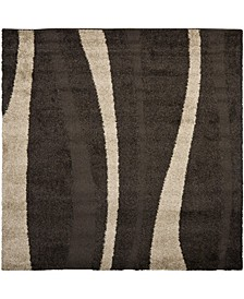 Shag Dark Brown and Beige 5' x 5' Square Area Rug