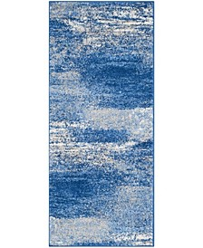 "Adirondack Silver and Blue 2'6"" x 12' Runner Area Rug"