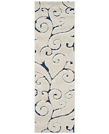 "Safavieh Shag Cream and Blue 2'3"" x 9' Runner Area Rug"