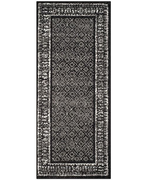 "Safavieh Adirondack Black and Silver 2'6"" x 14' Runner Area Rug"