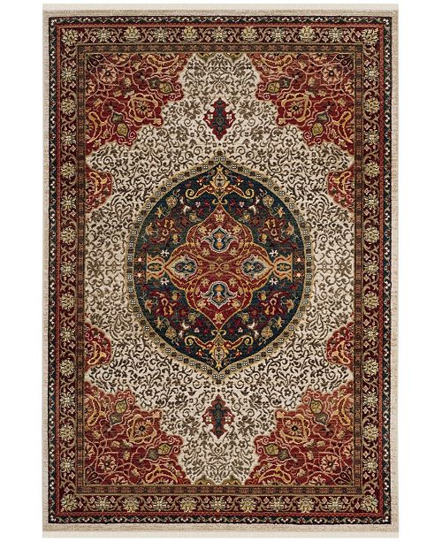 "Safavieh Kashan Ivory and Red 2'6"" x 8' Runner Area Rug"