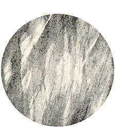 Retro Gray and Ivory 4' x 4' Round Area Rug