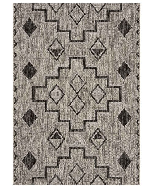 "Safavieh Courtyard Gray and Black 5'3"" x 7'7"" Area Rug"