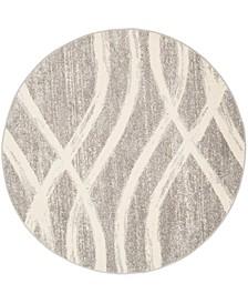 Adirondack Gray and Cream 8' x 8' Round Area Rug