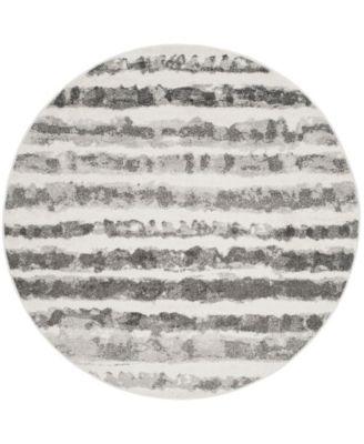 Adirondack Ivory and Charcoal 4' x 4' Round Area Rug