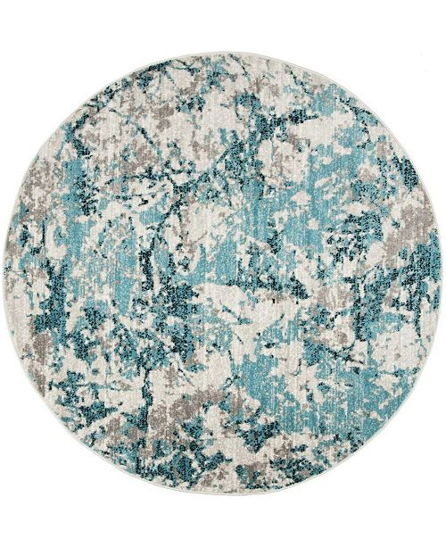 Safavieh Skyler Blue and Ivory 8' x 8' Round Area Rug