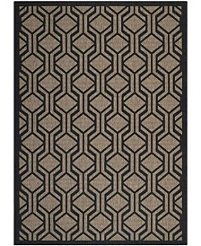 "Safavieh Courtyard Brown and Black 6'7"" x 6'7"" Sisal Weave Square Area Rug"