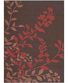 "Safavieh Courtyard Chocolate and Red 6'7"" x 6'7"" Sisal Weave Square Area Rug"