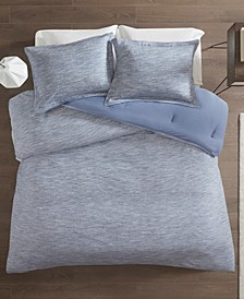 Urban Habitat Space Dyed King/Cal King 3 Piece Melange Cotton Jersey Knit Comforter Set