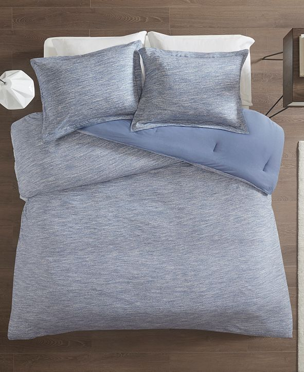 JLA Home Urban Habitat Space Dyed King/Cal King 3 Piece Melange Cotton Jersey Knit Comforter Set