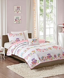 Wise Wendy Full/Queen 4 Piece Printed Coverlet Set