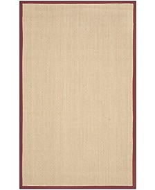 Natural Fiber Maize and Burgundy 4' x 6' Sisal Weave Rug