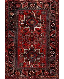 """Vintage Hamadan Red and Multi 5'3"""" x 7'6"""" Area Rug"""
