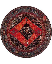 """Safavieh Vintage Hamadan Orange and Multi 6'7"""" x 6'7"""" Round Area Rug"""
