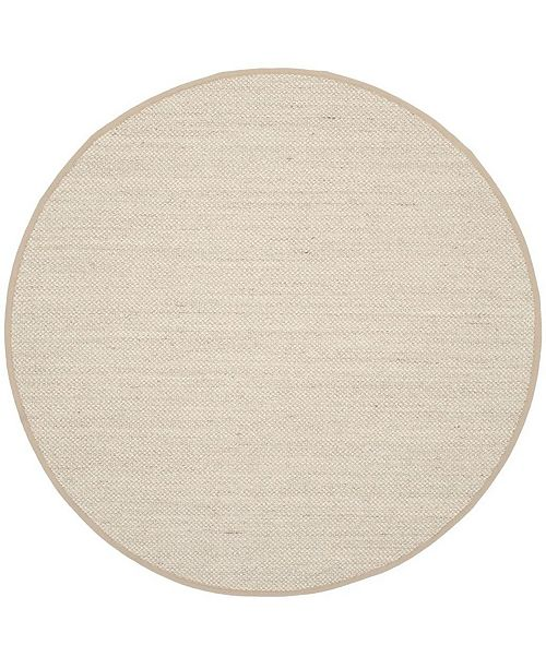 Safavieh Natural Fiber Marble and Linen 8' x 8' Sisal Weave Round Area Rug
