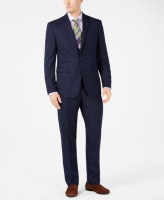 Men's Slim-Fit Navy Pin-Dot Suit Pants