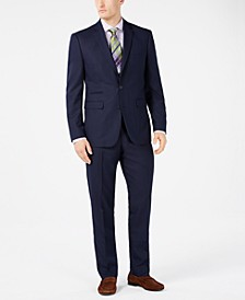 Men's Slim-Fit Stretch Navy Pindot Suit Separates
