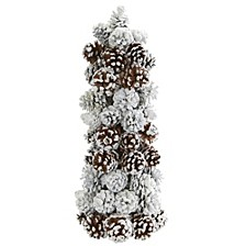 "17.5"" Frosted Pine Cone Tree"