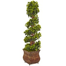 Nearly Natural 4' English Ivy Spiral Artificial Tree in Metal Planter, UV Resistant