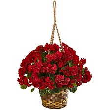 "19"" Geranium Hanging Basket Artificial Plant UV Resistant"