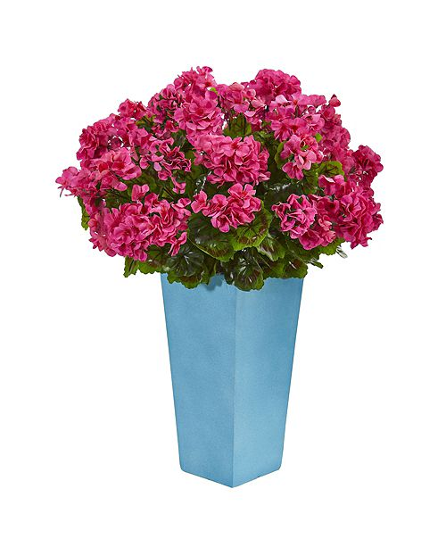 Nearly Natural Geranium Artificial Plant in Turquoise Planter UV Resistant