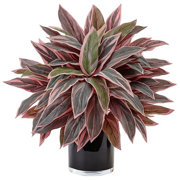 Nearly Natural Caladium Artificial Plant in Black Glossy Planter