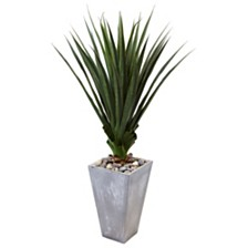 Nearly Natural 5' H Spiked Artificial Agave in Cement Planter