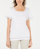 6794f488 Karen Scott Grommet-Trim Flutter-Sleeve Top, Created for Macy's