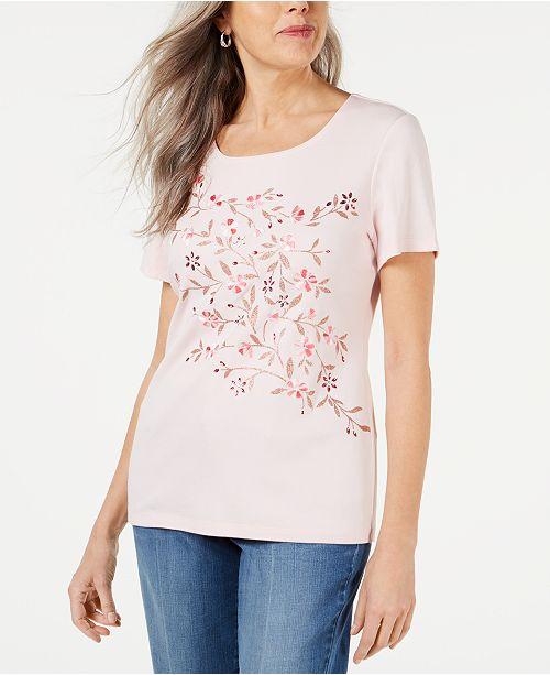 Karen Scott Petite Embellished Top, Created for Macy's