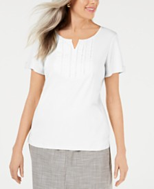 Karen Scott Split-Neck Top, Created for Macy's